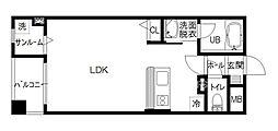 Amanciel金沢駅前 4階ワンルームの間取り