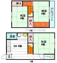 [テラスハウス] 大阪府箕面市大字粟生外院 の賃貸【/】の間取り