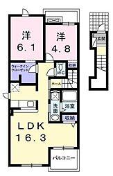 神奈川県高座郡寒川町倉見の賃貸アパートの間取り