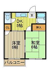 埼玉県川口市大字安行領根岸の賃貸アパートの間取り