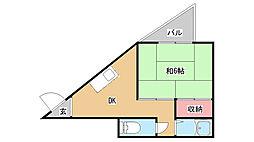 兵庫県神戸市北区鈴蘭台南町8丁目の賃貸マンションの間取り
