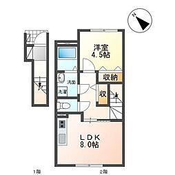 JR仙山線 東北福祉大前駅 徒歩8分の賃貸アパート 2階1LDKの間取り