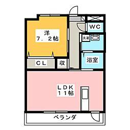 ルミエール鶴田 1階1LDKの間取り