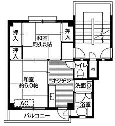 ビレッジハウス愛川1号棟4階Fの間取り画像