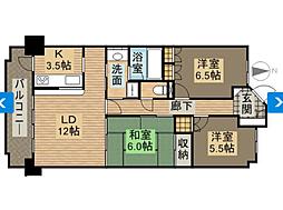 サーパス津高台通り一番館[4階]の間取り