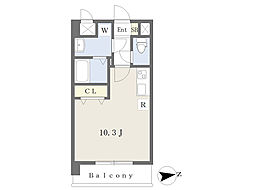 JR鹿児島本線 熊本駅 徒歩17分の賃貸マンション 3階ワンルームの間取り