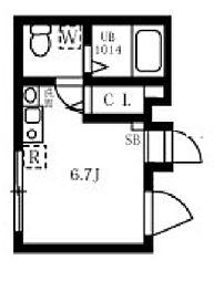 ブロッサムテラス王子 5階ワンルームの間取り