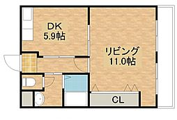 橋喜ハイツ 1号館[2階]の間取り