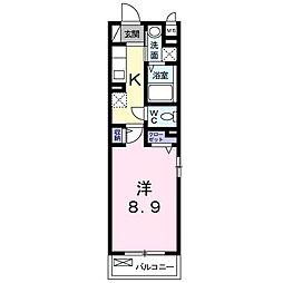 キョーナン宇治伊勢田 1階1Kの間取り