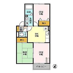 JR常磐線 南柏駅 バス20分 土南部小学校下車 徒歩15分の賃貸アパート 2階3DKの間取り
