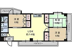 南平台ヤタヒルズII[3階]の間取り