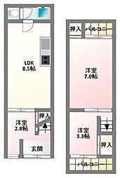 [テラスハウス] 大阪府寝屋川市高柳7丁目 の賃貸【/】の間取り