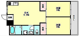 兵庫県神戸市垂水区東舞子町の賃貸マンションの間取り