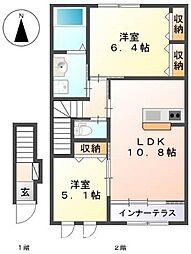 伊賀の郷 四番館[2階]の間取り