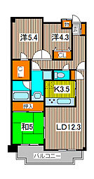 コスモ武蔵浦和プロシィード[6階]の間取り