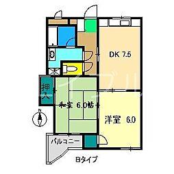 ガーデンハイツ永野[2階]の間取り