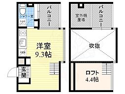 阪神なんば線 桜川駅 徒歩2分の賃貸マンション 6階ワンルームの間取り