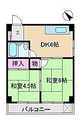 東京都北区西ケ原4丁目の賃貸マンションの間取り