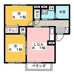 グレースヒルA[2階]の間取り