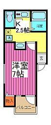 埼玉県春日部市南中曽根の賃貸アパートの間取り