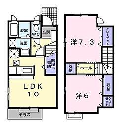 神奈川県横浜市都筑区新栄町の賃貸アパートの間取り