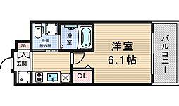 エステムコート難波WEST-SIDE3ドームシティ[6階]の間取り