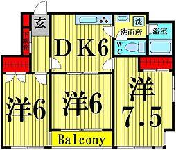 東京都足立区竹ノ塚5丁目の賃貸マンションの間取り