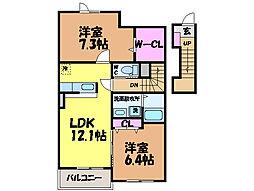 愛媛県松山市桑原5丁目の賃貸アパートの間取り