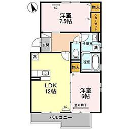 富山県富山市萩原の賃貸アパートの間取り