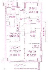 神奈川県川崎市高津区新作2丁目の賃貸マンションの間取り