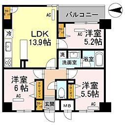 幸court narasanjo[5階]の間取り