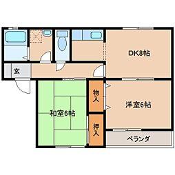 奈良県大和高田市蔵之宮町の賃貸アパートの間取り
