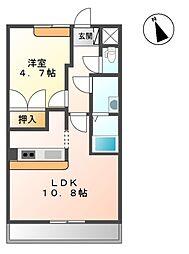 南海高野線 萩原天神駅 3.2kmの賃貸アパート 1階1LDKの間取り