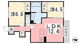 兵庫県姫路市広畑区西蒲田字東前田の賃貸アパートの間取り