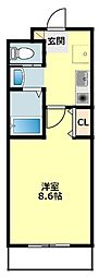 JR東海道本線 岡崎駅 徒歩7分の賃貸マンション 2階1Kの間取り