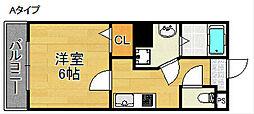 グランエクラ天下茶屋 6階1Kの間取り