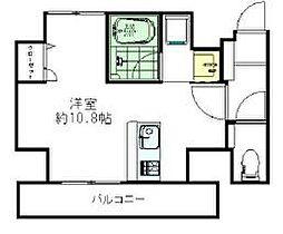 西鉄天神大牟田線 薬院駅 徒歩10分の賃貸マンション 3階ワンルームの間取り