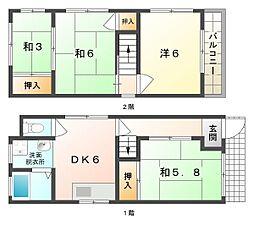 大阪モノレール 大日駅 徒歩18分の賃貸一戸建て 4DKの間取り