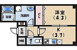 阪急神戸本線 夙川駅 徒歩14分の賃貸マンション 3階1DKの間取り