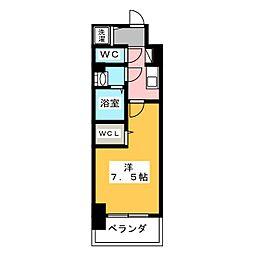 エスリード新栄プライム 2階1Kの間取り