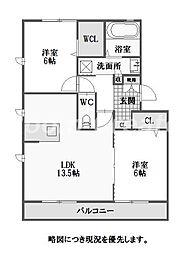 徳島県徳島市北田宮2丁目の賃貸アパートの間取り