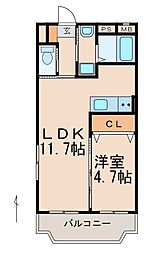 ASAマンション 2階1LDKの間取り