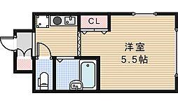 レヴェ北田辺[5階]の間取り