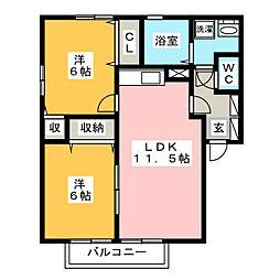 クローバーハイツ杉塚C棟[1階]の間取り