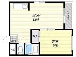 ピア土江パート2 4階1LDKの間取り