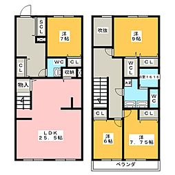 [テラスハウス] 愛知県名古屋市名東区一社2丁目 の賃貸【/】の間取り