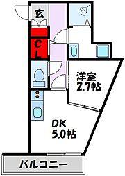 MODERN PALAZZO Kego Forest(仮) 2階1DKの間取り