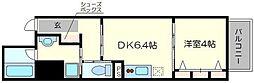 べラジオ京都梅小路 2階1DKの間取り