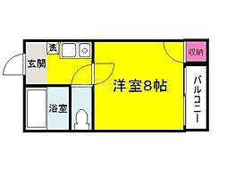 大阪府堺市堺区甲斐町東5丁の賃貸マンションの間取り