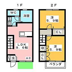 シャトーリ牧御堂 B棟[1階]の間取り